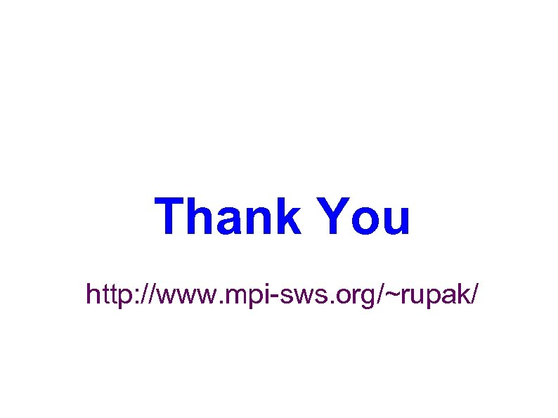Thank You http: //www. mpi-sws. org/~rupak/