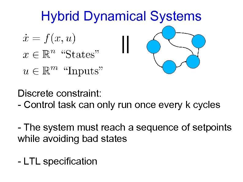 Hybrid Dynamical Systems || Discrete constraint: - Control task can only run once every