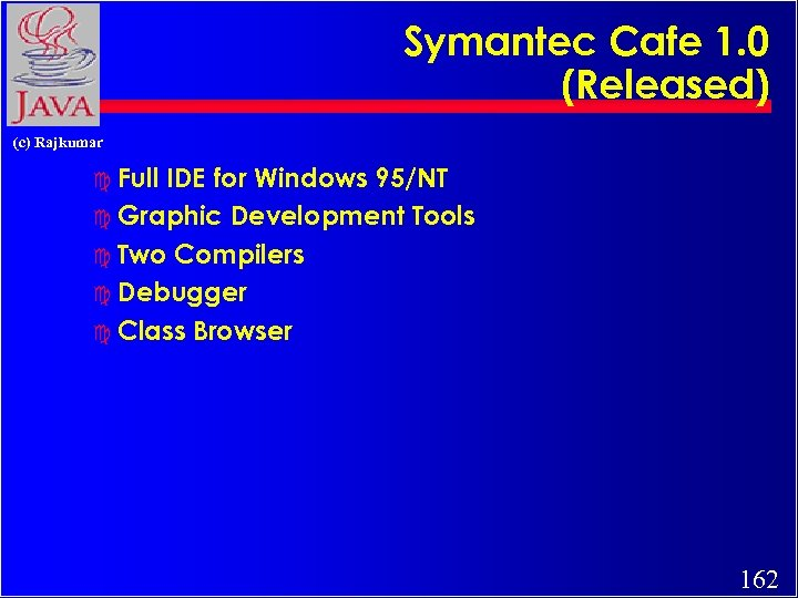 Symantec Cafe 1. 0 (Released) (c) Rajkumar c Full IDE for Windows 95/NT c