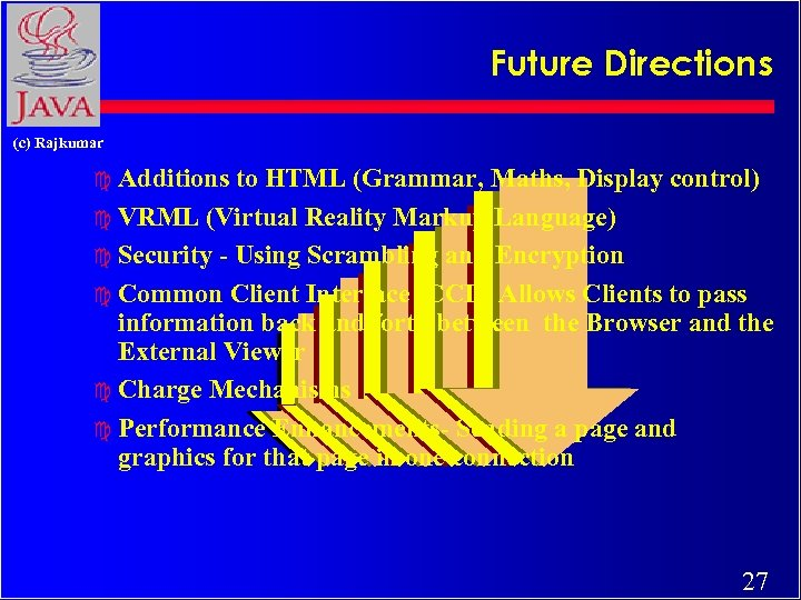 Future Directions (c) Rajkumar c Additions to HTML (Grammar, Maths, Display control) c VRML