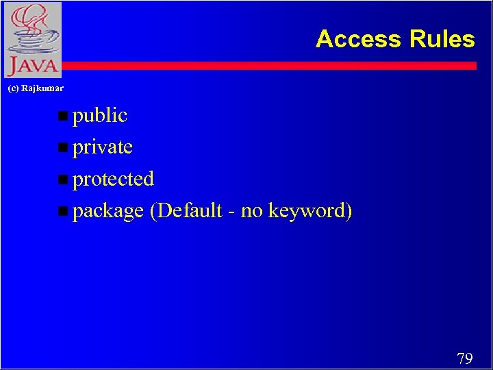 Access Rules (c) Rajkumar n public n private n protected n package (Default -
