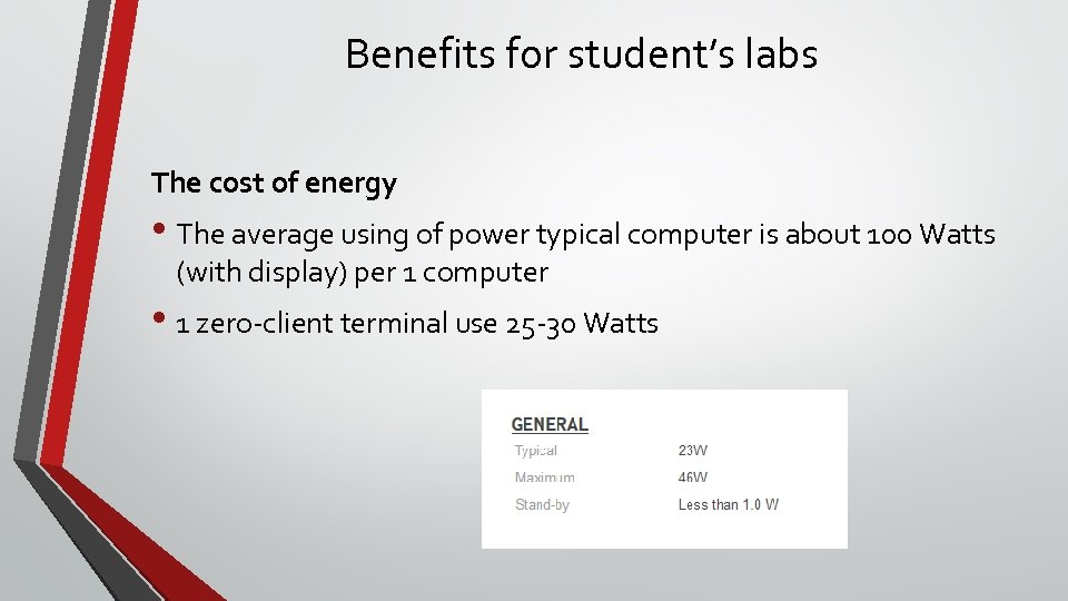 Benefits for student's labs The cost of energy • The average using of power