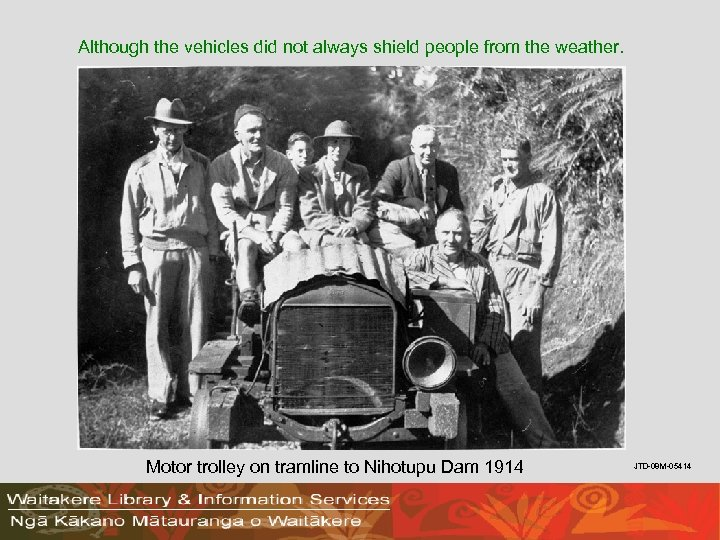 Although the vehicles did not always shield people from the weather. Motor trolley on