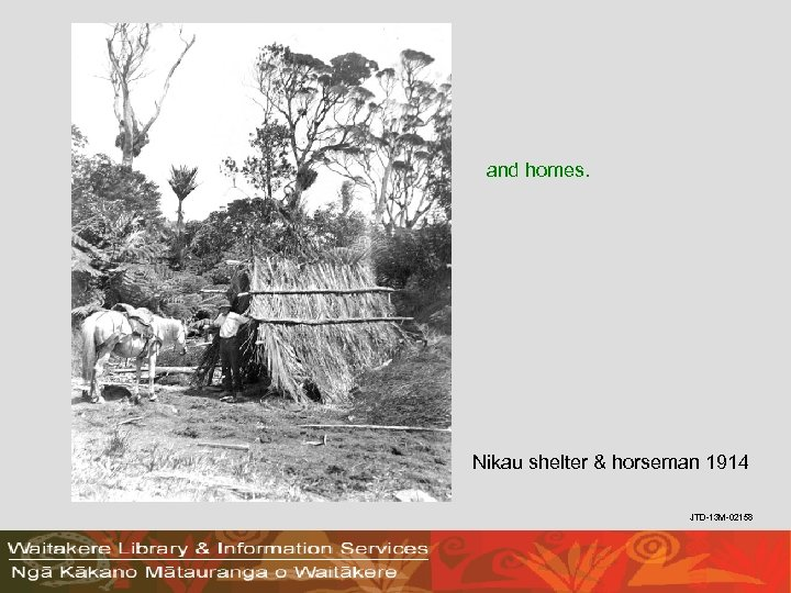and homes. Nikau shelter & horseman 1914 JTD-13 M-02158
