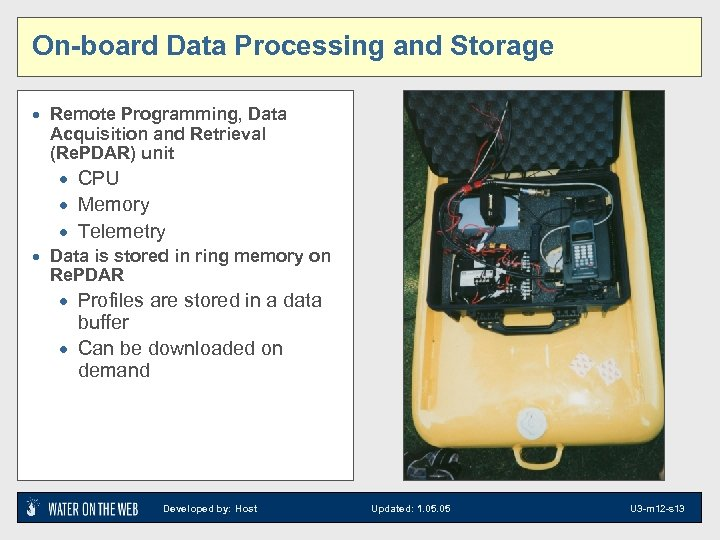 On-board Data Processing and Storage · Remote Programming, Data Acquisition and Retrieval (Re. PDAR)