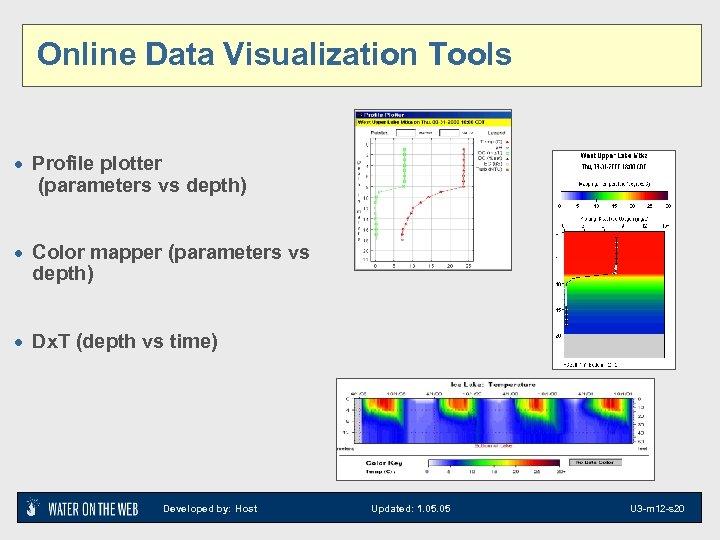 Online Data Visualization Tools · Profile plotter (parameters vs depth) · Color mapper (parameters