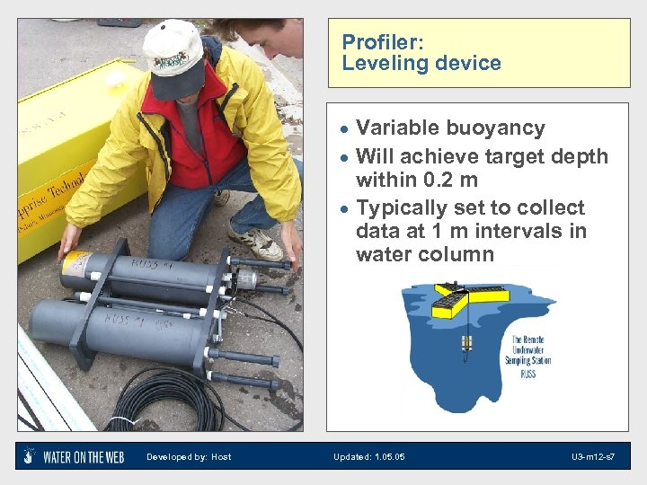Profiler: Leveling device · Variable buoyancy · Will achieve target depth within 0. 2
