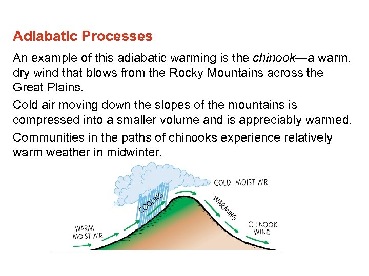 Adiabatic Processes An example of this adiabatic warming is the chinook—a warm, dry wind