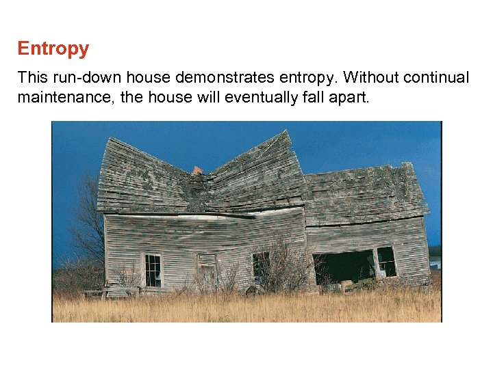 Entropy This run-down house demonstrates entropy. Without continual maintenance, the house will eventually fall