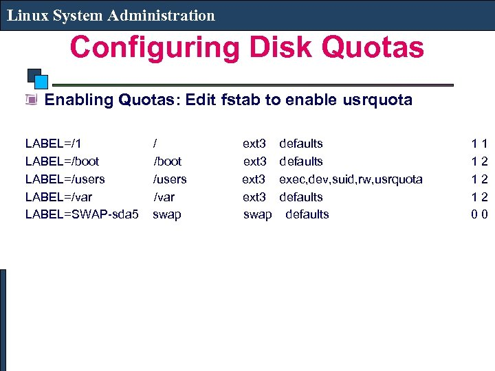 Linux System Administration Configuring Disk Quotas Enabling Quotas: Edit fstab to enable usrquota LABEL=/1