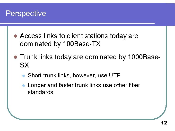 Perspective l Access links to client stations today are dominated by 100 Base-TX l