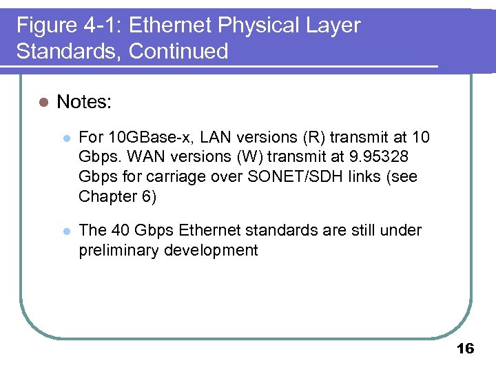 Figure 4 -1: Ethernet Physical Layer Standards, Continued l Notes: l For 10 GBase-x,