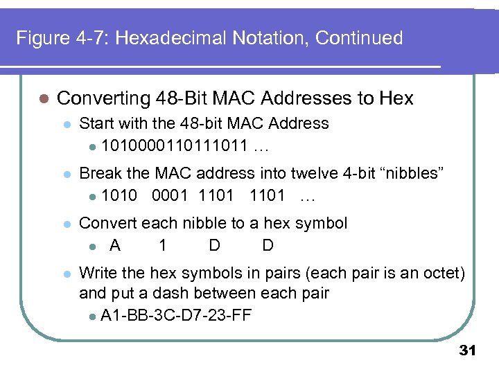Figure 4 -7: Hexadecimal Notation, Continued l Converting 48 -Bit MAC Addresses to Hex