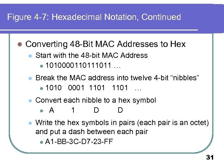 Figure 4 -7: Hexadecimal Notation, Continued l Converting 48 -Bit MAC Addresses to Hex