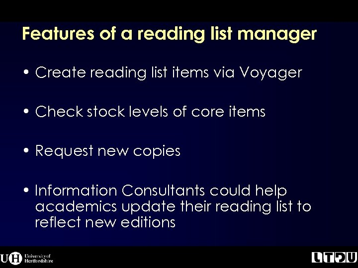 Features of a reading list manager • Create reading list items via Voyager •