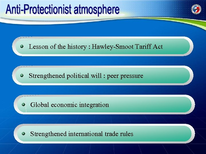 Lesson of the history : Hawley-Smoot Tariff Act Strengthened political will : peer pressure