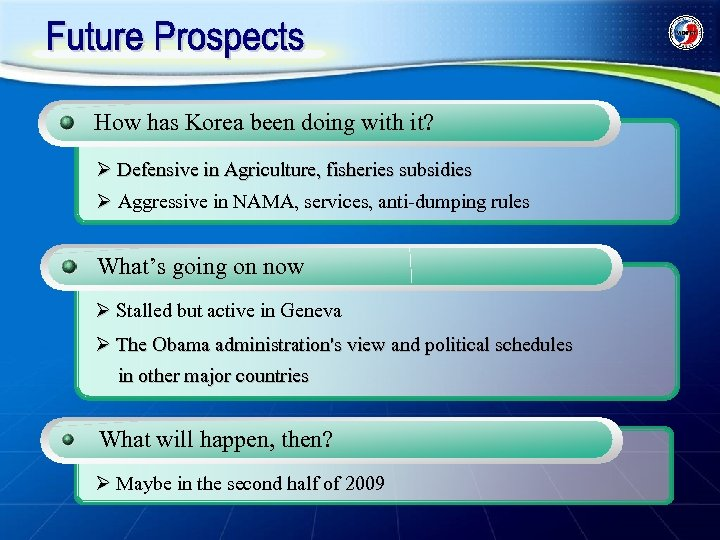 How has Korea been doing with it? Ø Defensive in Agriculture, fisheries subsidies Ø