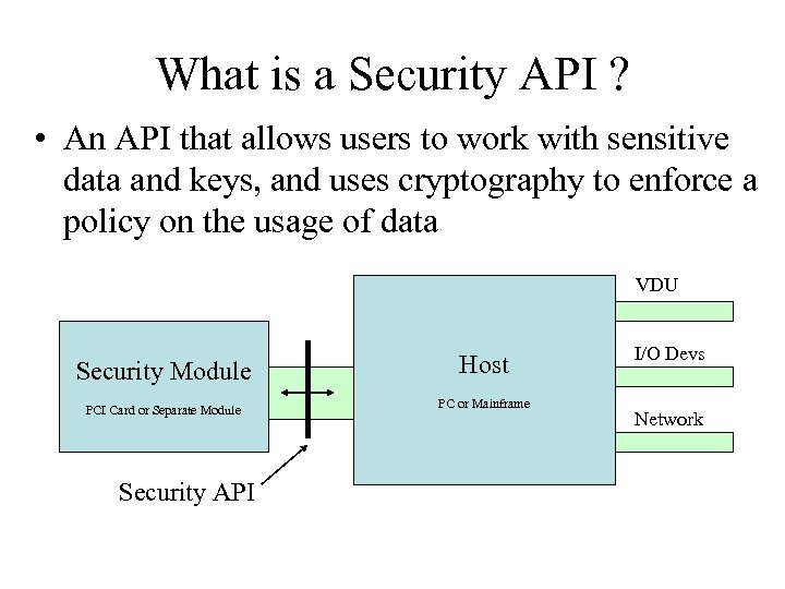 What is a Security API ? • An API that allows users to work