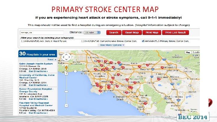 PRIMARY STROKE CENTER MAP