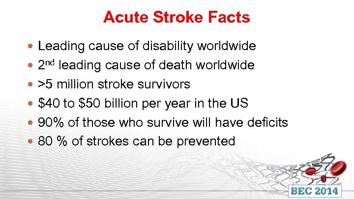 Acute Stroke Facts Leading cause of disability worldwide 2 nd leading cause of death
