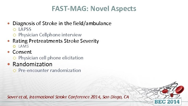 FAST-MAG: Novel Aspects Diagnosis of Stroke in the field/ambulance LAPSS Physician Cellphone interview Rating