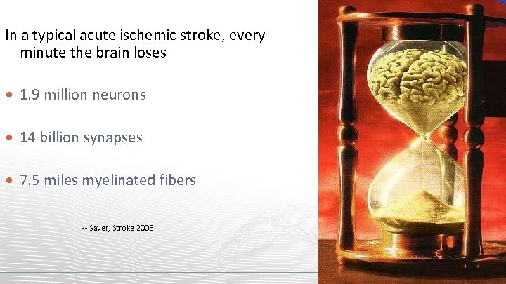 In a typical acute ischemic stroke, every minute the brain loses 1. 9 million