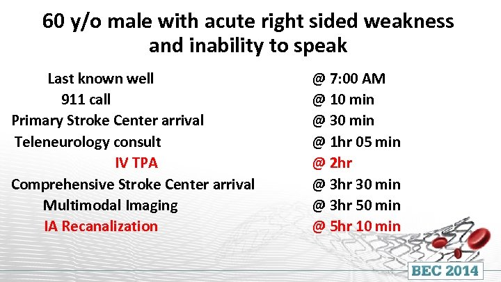 60 y/o male with acute right sided weakness and inability to speak Last known