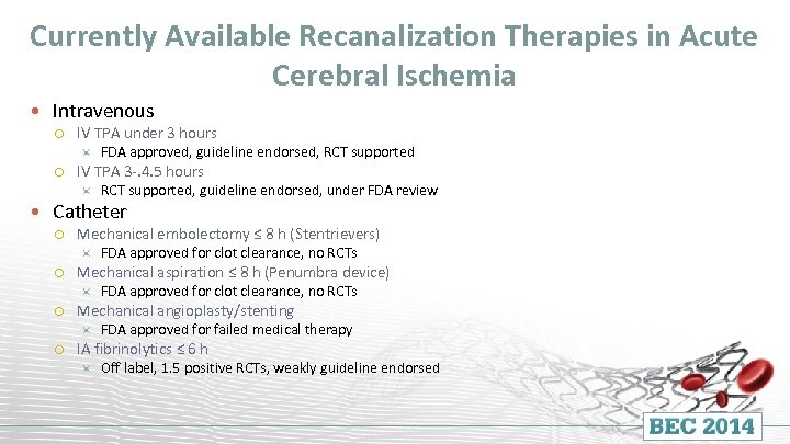 Currently Available Recanalization Therapies in Acute Cerebral Ischemia Intravenous IV TPA under 3 hours