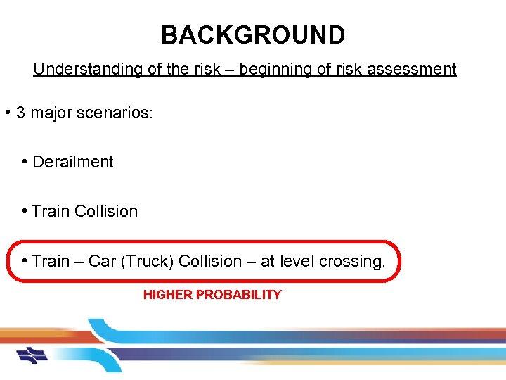 BACKGROUND Understanding of the risk – beginning of risk assessment • 3 major scenarios: