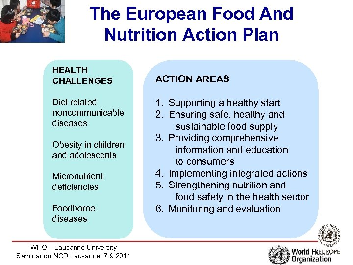 The European Food And Nutrition Action Plan HEALTH CHALLENGES Diet related noncommunicable diseases Obesity
