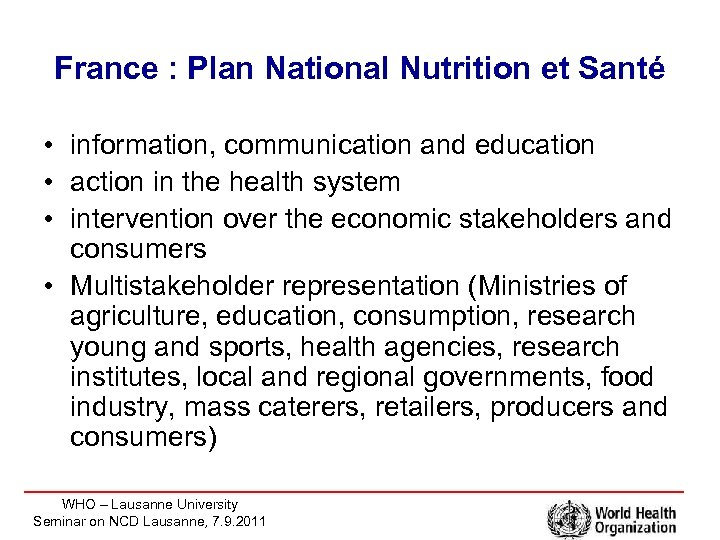 France : Plan National Nutrition et Santé • information, communication and education • action