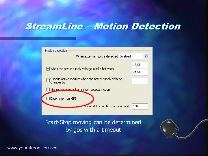 Stream. Line – Motion Detection Start/Stop moving can be determined by gps with a