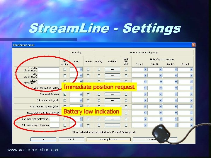 Stream. Line - Settings Immediate position request Battery low indication www. yourstreamline. com