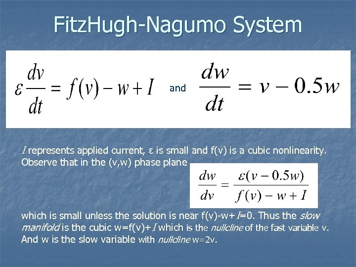 Fitz. Hugh-Nagumo System and I represents applied current, ε is small and f(v) is