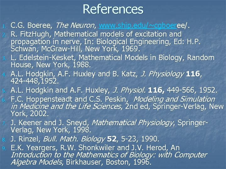 References 1. 2. 3. 4. 5. 6. 7. 8. 9. C. G. Boeree, The