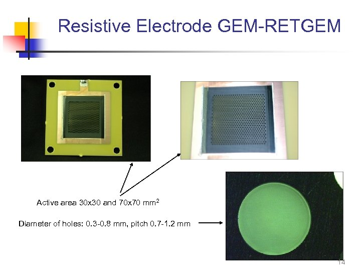 Resistive Electrode GEM-RETGEM Active area 30 x 30 and 70 x 70 mm 2