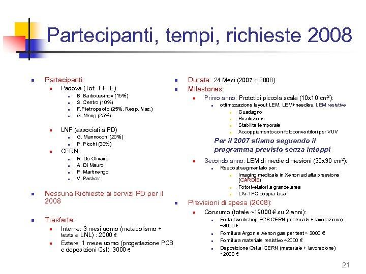 Partecipanti, tempi, richieste 2008 n Partecipanti: n Padova (Tot: 1 FTE) n n n