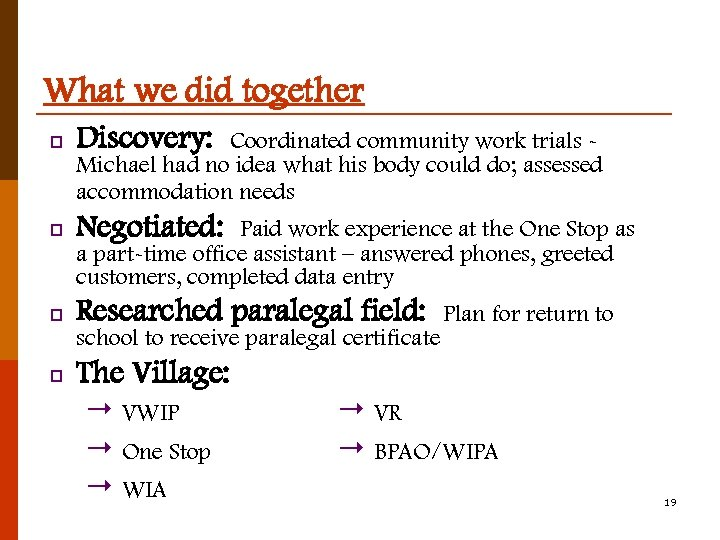 What we did together p Discovery: p Negotiated: p Researched paralegal field: Coordinated community