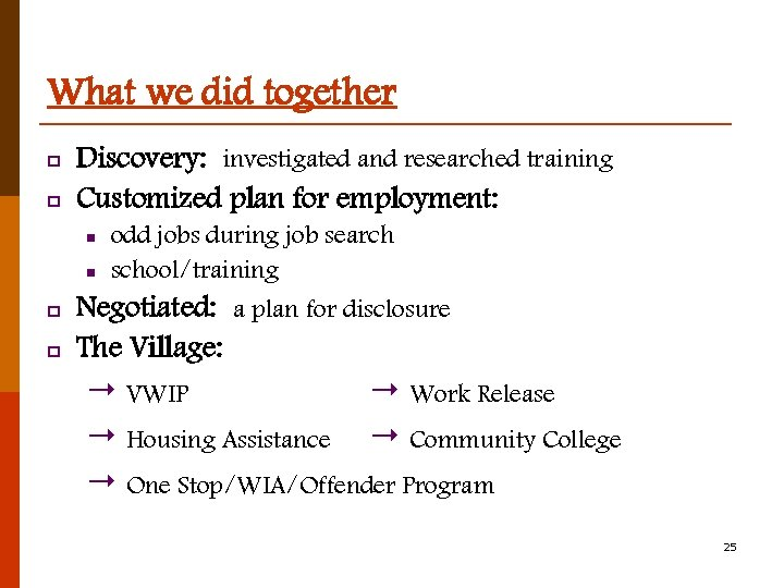 What we did together p p Discovery: investigated and researched training Customized plan for
