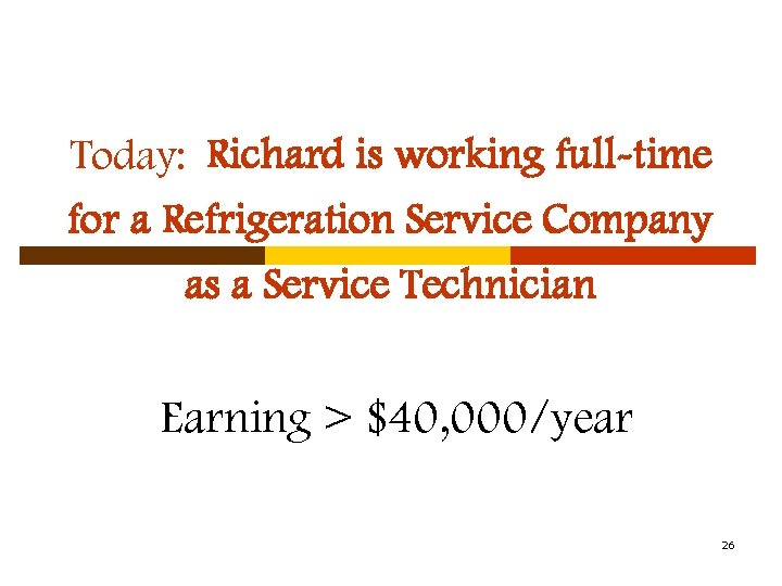 Today: Richard is working full-time for a Refrigeration Service Company as a Service Technician