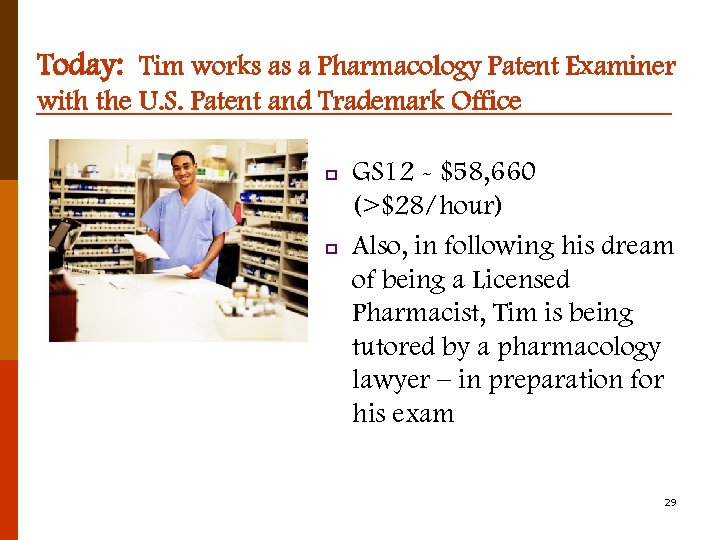 Today: Tim works as a Pharmacology Patent Examiner with the U. S. Patent and