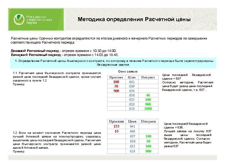 Методика определения Расчетной цены Расчетные цены Срочных контрактов определяются по итогам дневного и вечернего