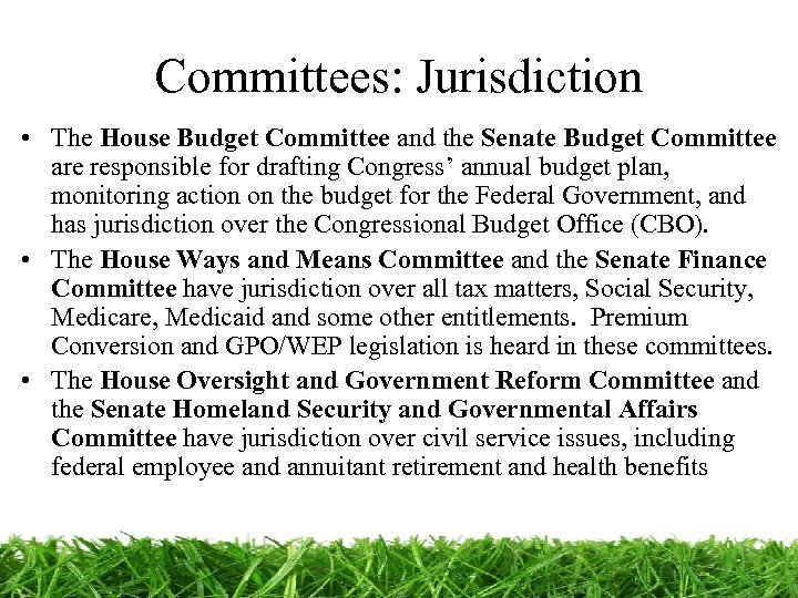 Committees: Jurisdiction • The House Budget Committee and the Senate Budget Committee are responsible