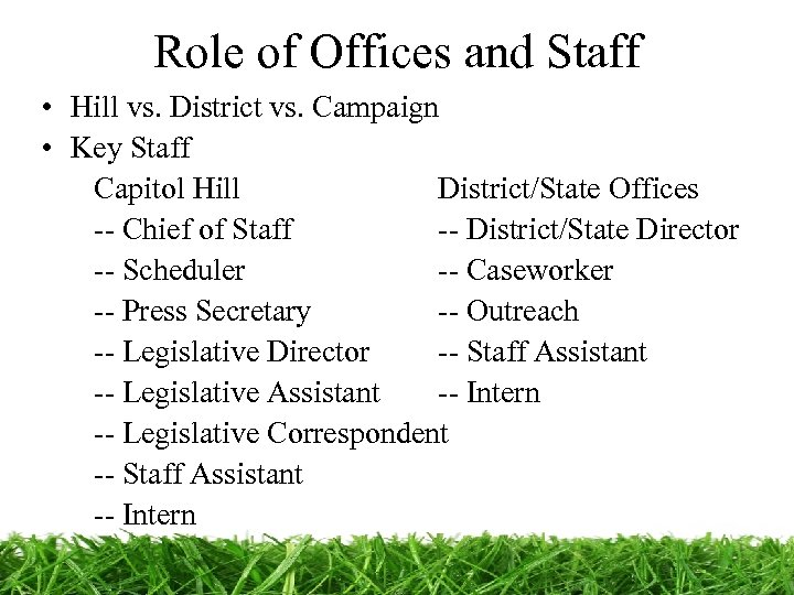 Role of Offices and Staff • Hill vs. District vs. Campaign • Key Staff