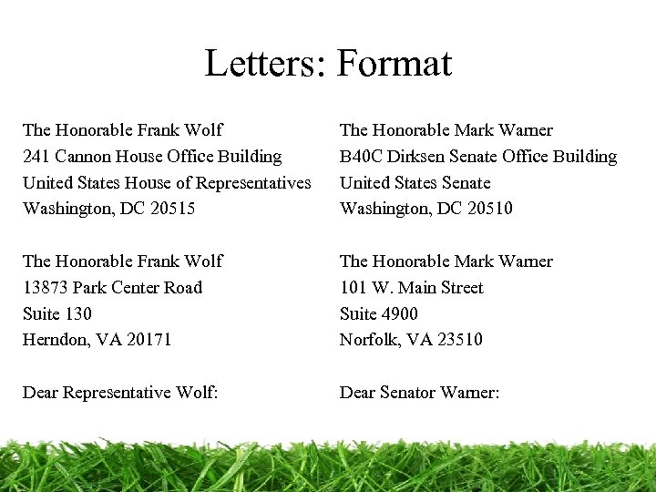 Letters: Format The Honorable Frank Wolf 241 Cannon House Office Building United States House