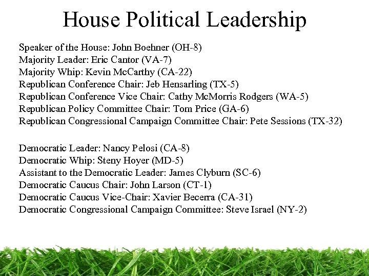 House Political Leadership Speaker of the House: John Boehner (OH-8) Majority Leader: Eric Cantor