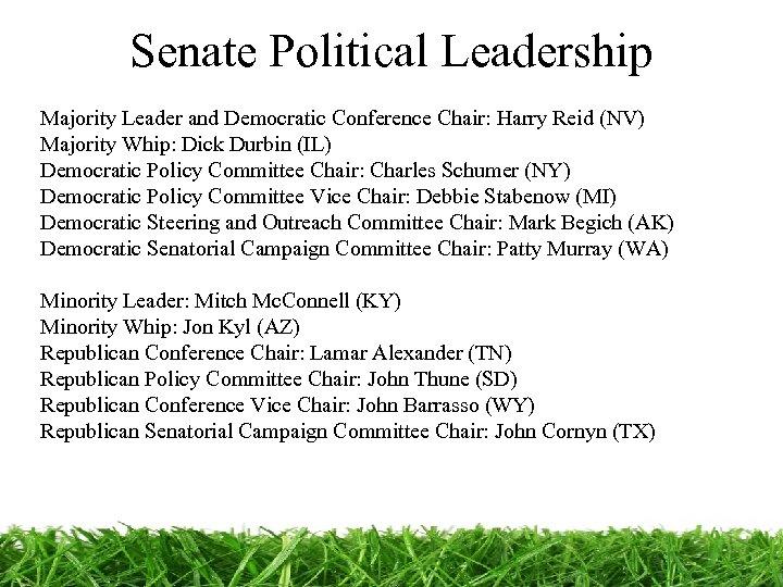 Senate Political Leadership Majority Leader and Democratic Conference Chair: Harry Reid (NV) Majority Whip: