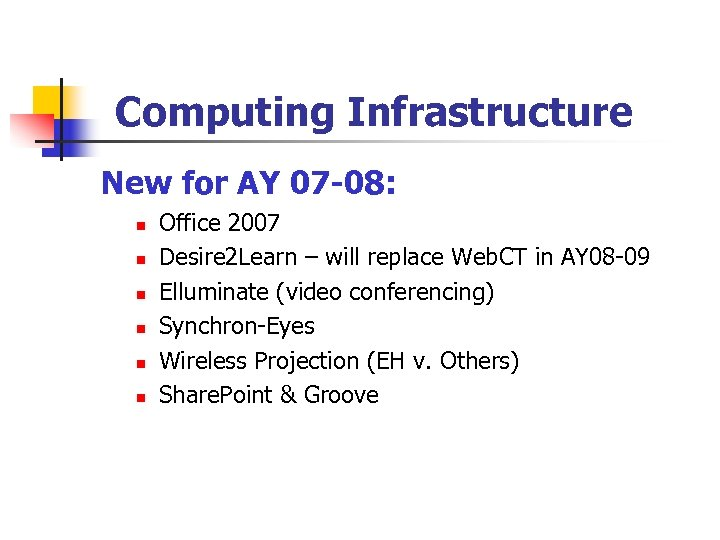 Computing Infrastructure New for AY 07 -08: n n n Office 2007 Desire 2