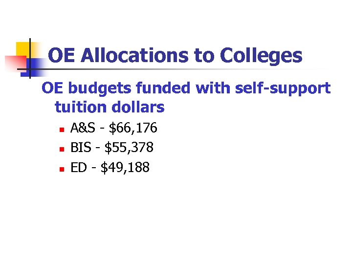 OE Allocations to Colleges OE budgets funded with self-support tuition dollars n n n