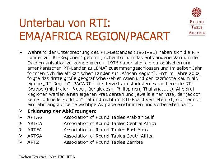 Unterbau von RTI: EMA/AFRICA REGION/PACART Ø Ø Ø Ø Während der Unterbrechung des RTI-Bestandes